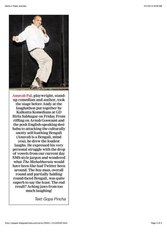REVIEW OF KOLKATA COMEDIANS SHOW- OCTOBER 18, 2013